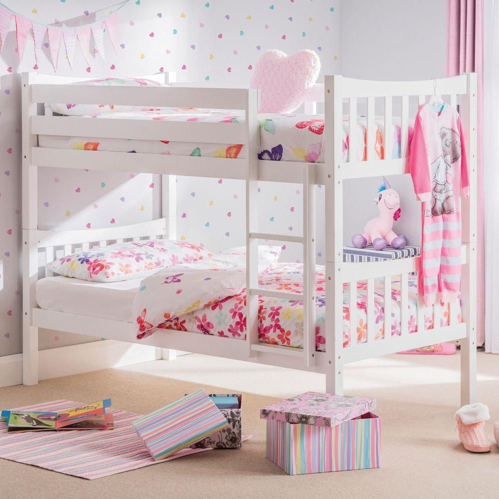 Happy Beds Feliz Camas litera de Zodiac 3 ft Blanco de Madera Muebles de Dormitorio para niños colchones, Madera, Blanco, 3FT - 2 x Orthopaedic Mattresses: ...