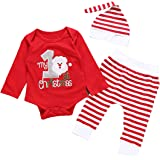 MLCHNCO Baby Girl Boy Christmas Outfit Set My 1st Letter Print Romper Striped Print Jumpsuit Pant with Hat Clothes Set