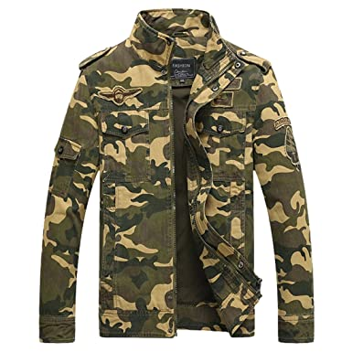 Mens Camouflage Jacket Bomber Jackets Army Field Jacket Military Air Force Coat  Camo Jackets Lightweight Flight a677c1369e2