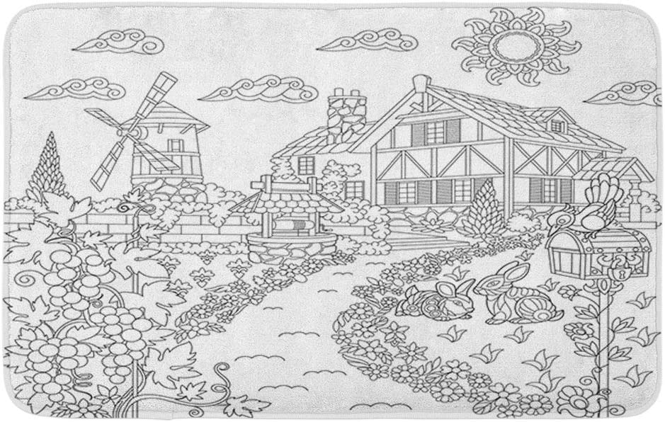 "Adowyee Bath Mat Coloring Book Page of Rural Landscape Farm House Windmill Cozy Bathroom Decor Bath Rug with Non Slip Backing 16"" X 24"""