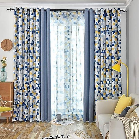 jarl home paire de rideaux occultants a œillets avec motif triangles et couleur unie pour chambre d enfant et salon