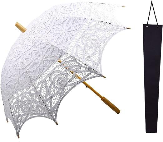 Sombrilla de encaje de Kakoo, parasol informal estilo victoriano de algodón con funda protectora, para fiestas, decoración de bodas, y como accesorio para fotos, blanco: Amazon.es: Jardín