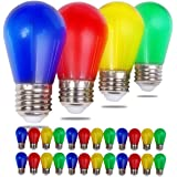 Visther S14 LED Colored String Light Bulb, 1W Plastic Shatterproof Incandescent Replacement, E26 Base, Edison Bulbs for Outdo