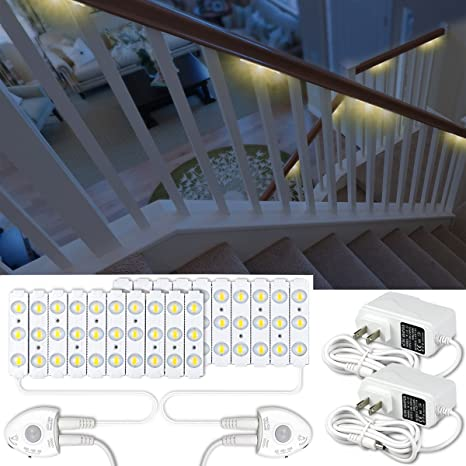 Amagle Motion Sensor Night Light,52.49ft DIY LED Stair Lights Strip With  Automatic Shut