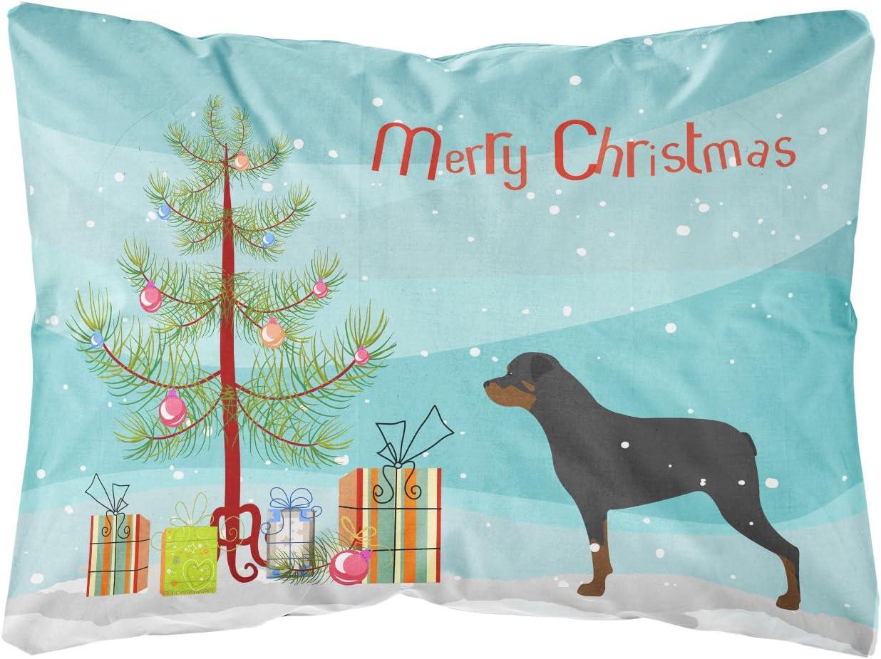 Caroline s Treasures BB2984PW1216 Rottweiler Merry Christmas Tree Canvas Fabric Decorative Pillow, 12H x16W, Multicolor
