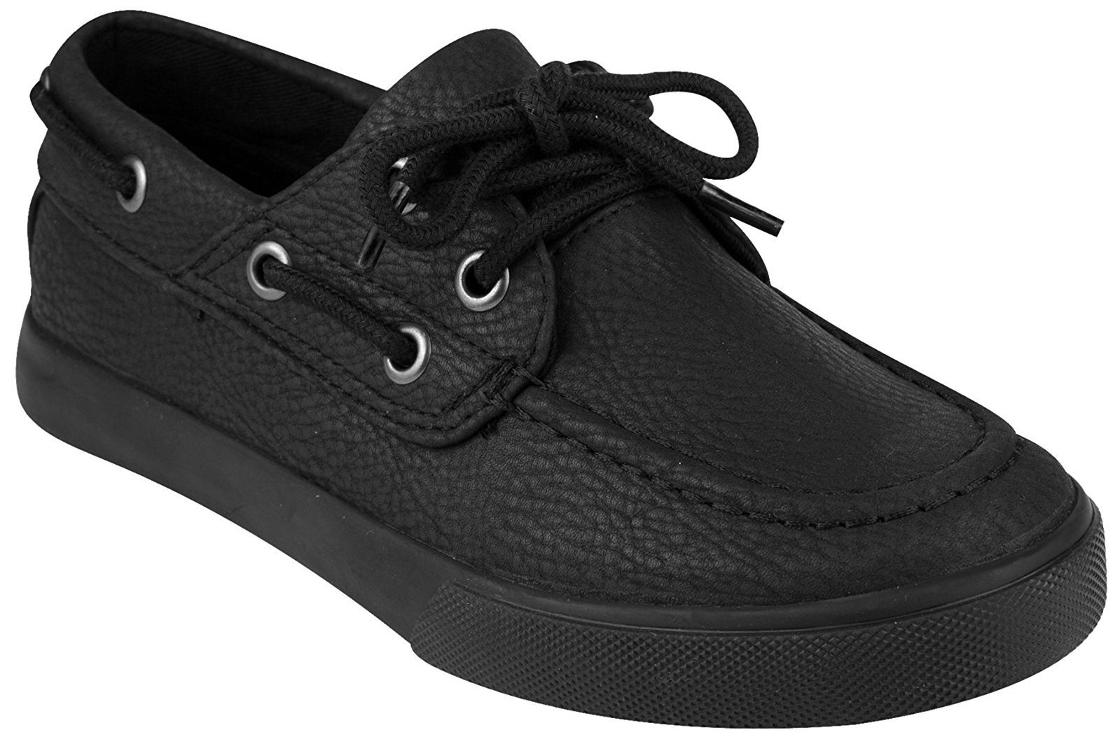 French Toast Kid's Jacob Boat Shoe, Black, 1 M US Little Kid