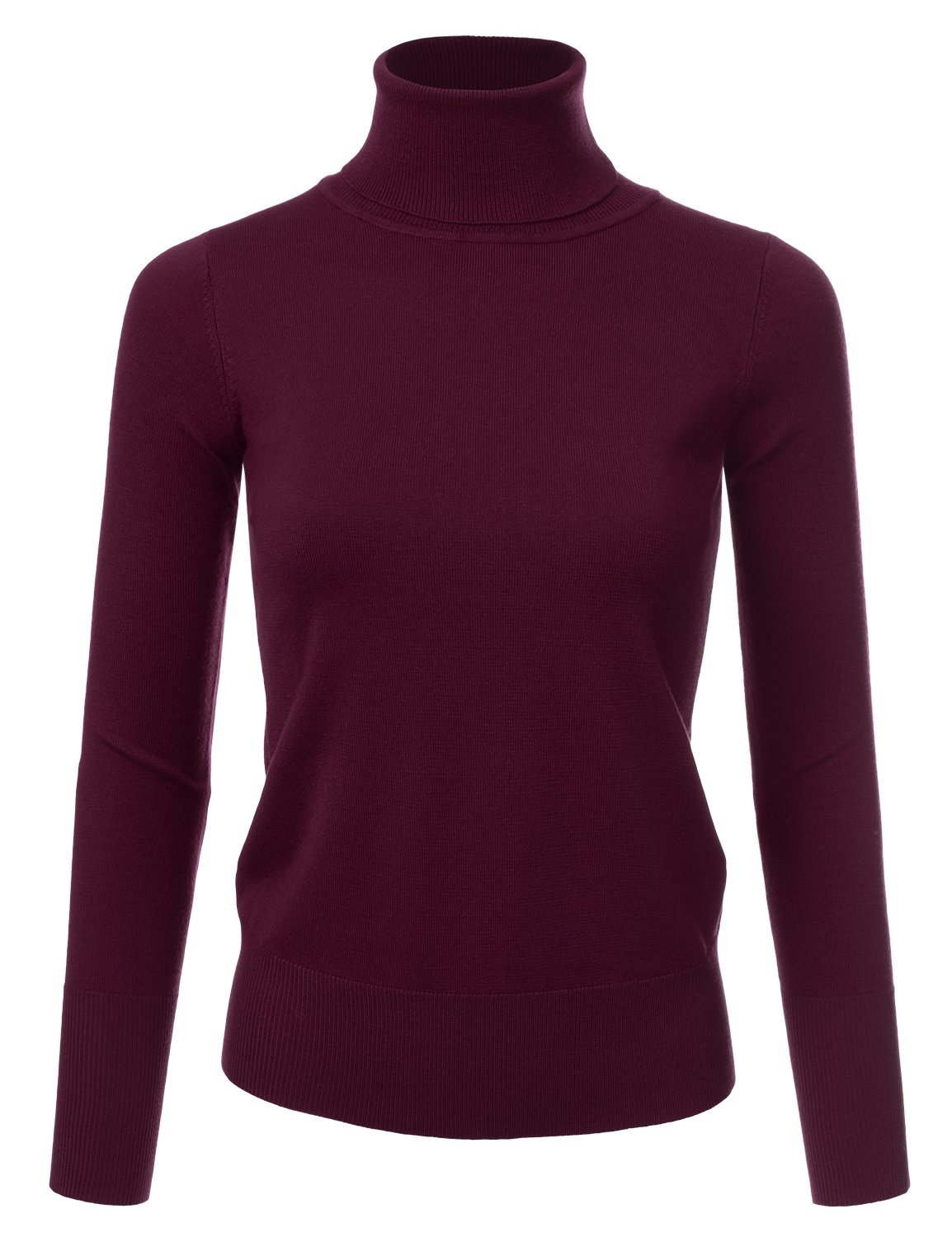 NINEXIS Womens Long Sleeve Turtle Neck Sweater Burgundy L