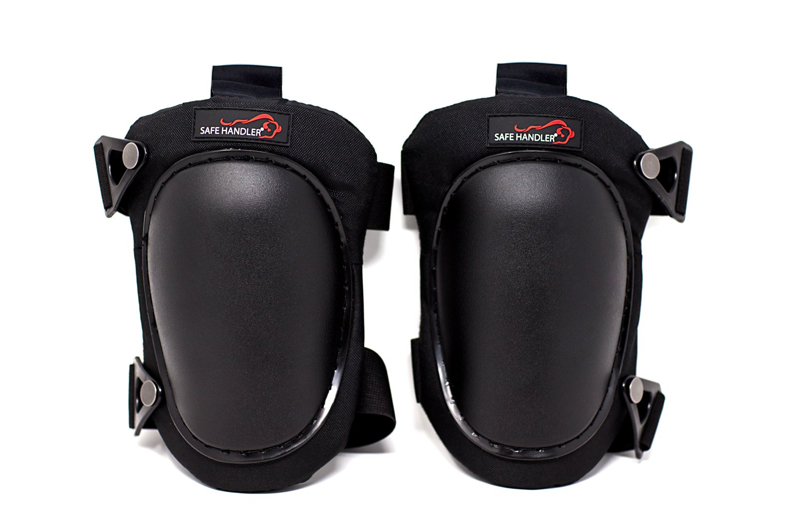 SAFE HANDLER Professional Knee Pads with High Density PP Cap and Heavy Duty Padding | Comfortable Strong Adjustable Double Straps and Durable Hook Closure (Heavy Duty Cap, Black)