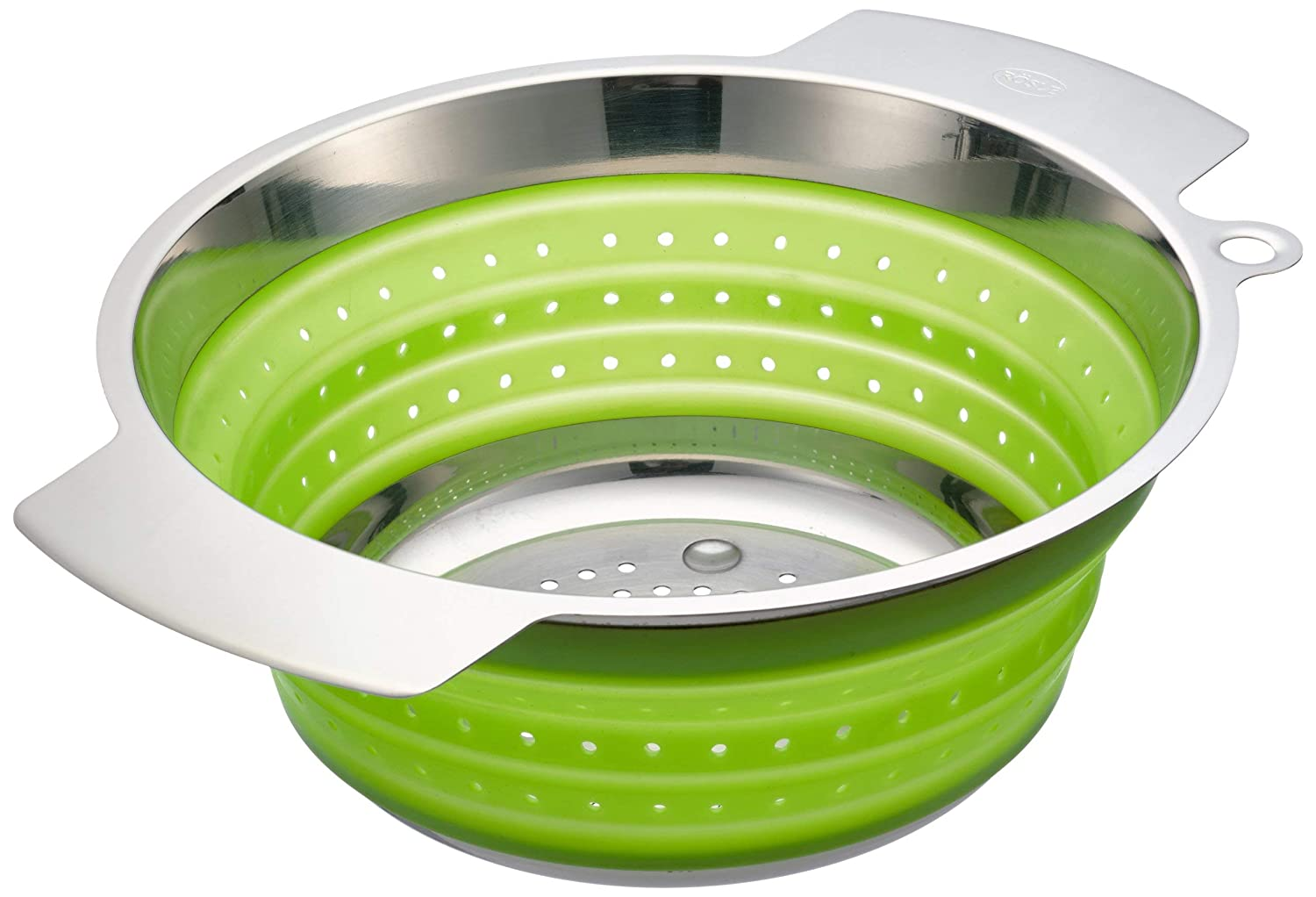 Rösle Stainless Steel Collapsible Colander, Green, 10-inch