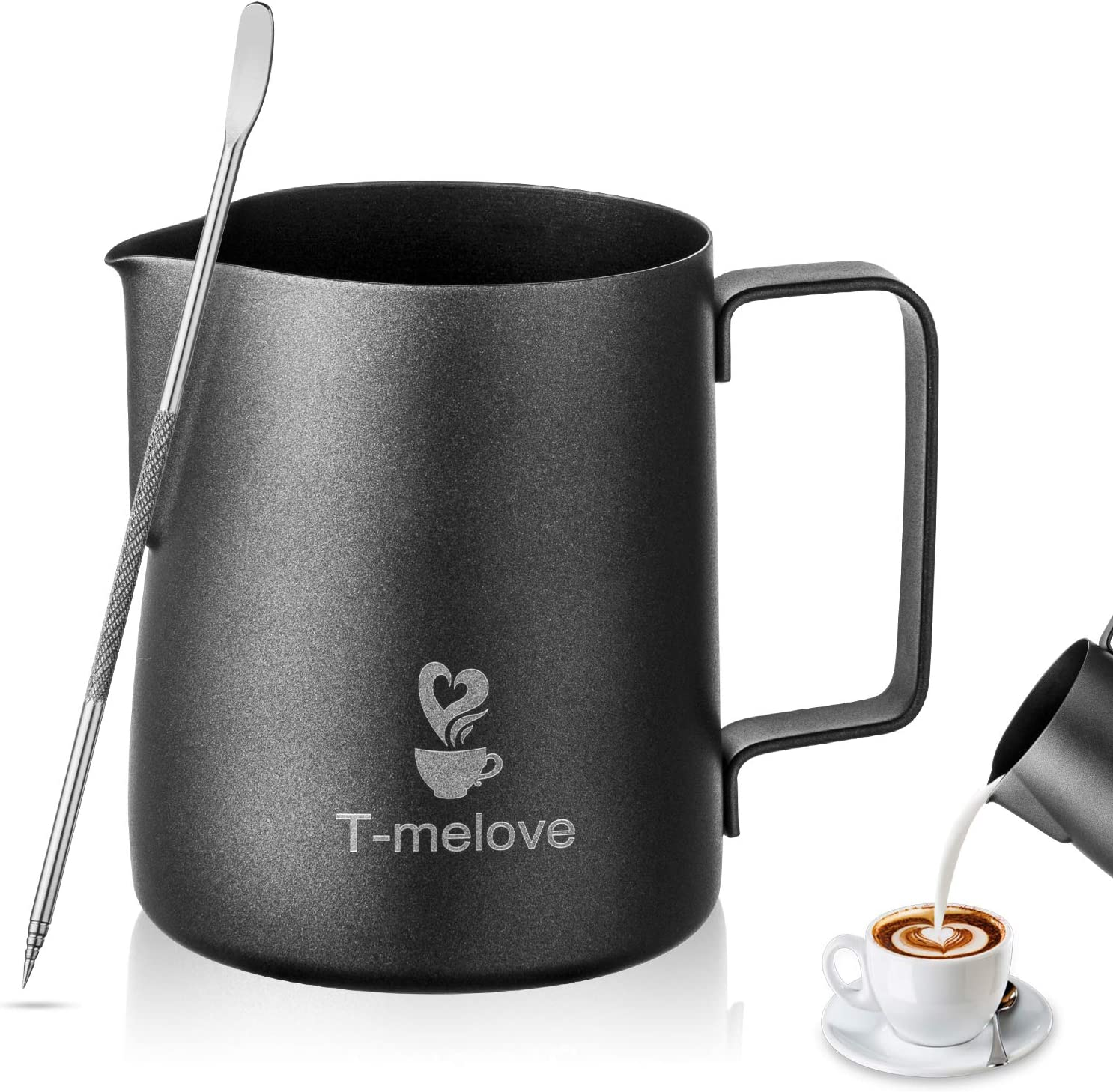 Milk Frothing Pitcher 350ml/12oz 304 Stainless Steel,Black Espresso Steaming Pitcher Coffee Milk Frother Cup with Decorating Art Pen (12oz / 350ml)
