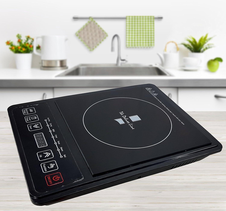 Plaque de cuisson à induction multifonctionnelle - 2200 W - Avec minuterie - 10 réglages de chaleur - Panneau de commande avec affichage LED Duo TDL