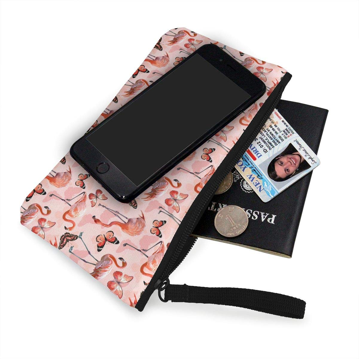 Flamingo and Butterflies Pattern Canvas Coin Purse Cute Change Pouch Wallet Bag Multifunctional Cellphone Bag with Handle
