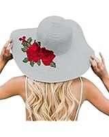 Women Flower Embroidery Foldable Floppy Wide Large Brim Sun Hats