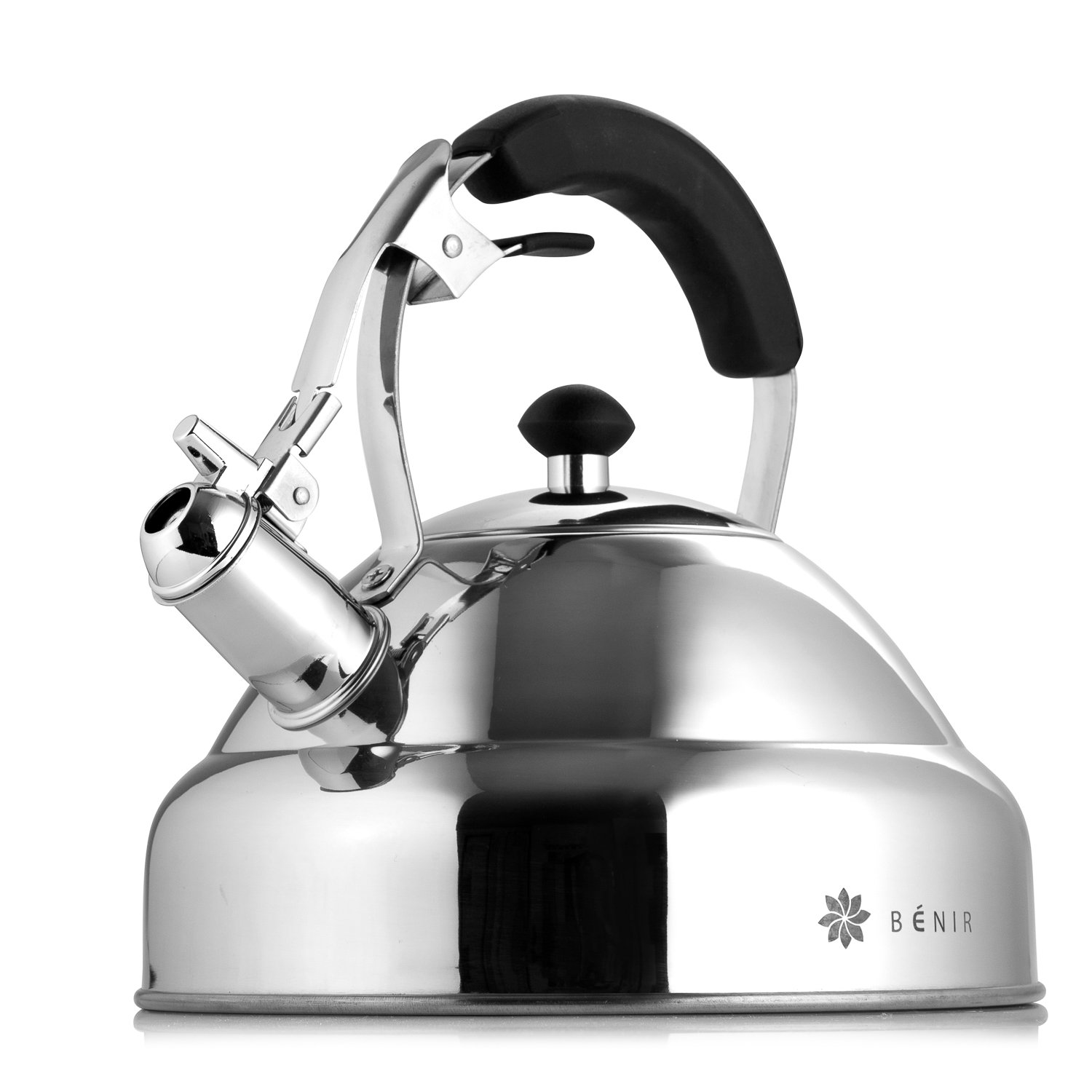 Select Gorgeous Tea Kettle - Whistling I Fastest Boiling Mirror Finish Surgical Stainless Steel Teapot - 11 cup by Benir Kitchen