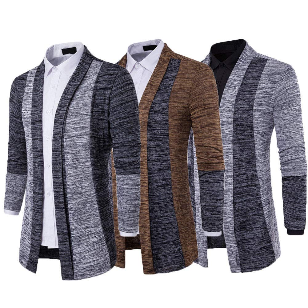 Remberan Mens Knitted Coat Long Sleeve Cardigan Jacket Splice Coat Slim Fit Coats