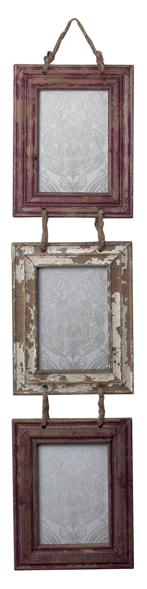 Sterling 128-1026 Coastal Set of Picture Frames with Natural Rope Hanger, 8 by 35-Inch, Distressed Country Red/White