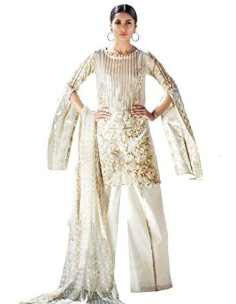 60fa3558fb Madeesh Pakistani Suit for Women, Party Wear, Pure Cotton Silfi Full  Embroidered Top with Embroidery Patch ...