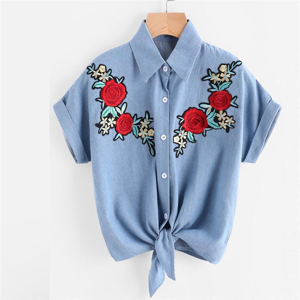 Brezeh da rose fiore camicetta a maniche corte da donna t-shirt XL Blue Da donna camicetta