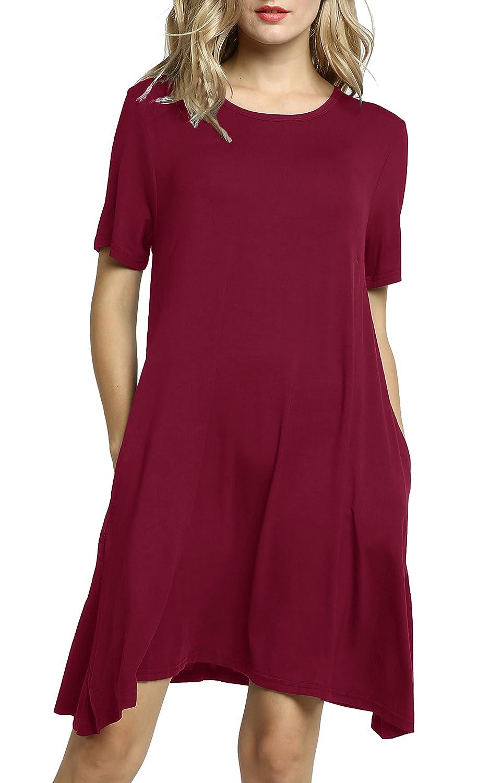 Burgundy Sinono Womens Short Sleeve Casual Simple TShirt Swing Dress with Pockets