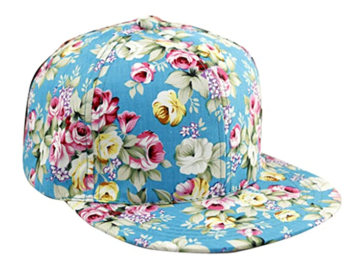 e8567424 Image Unavailable. Image not available for. Color: Floral Flower Snapback  Adjustable Fitted Men's Women's Hip-Hop Cap Hat Headwear