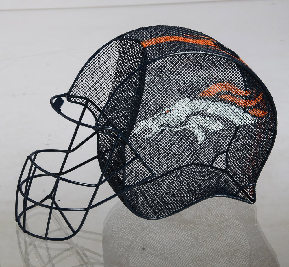 Team Sports America NFL Denver Broncos Football Helmet Bottle and Cork Cage Holder, Small, Multicolored