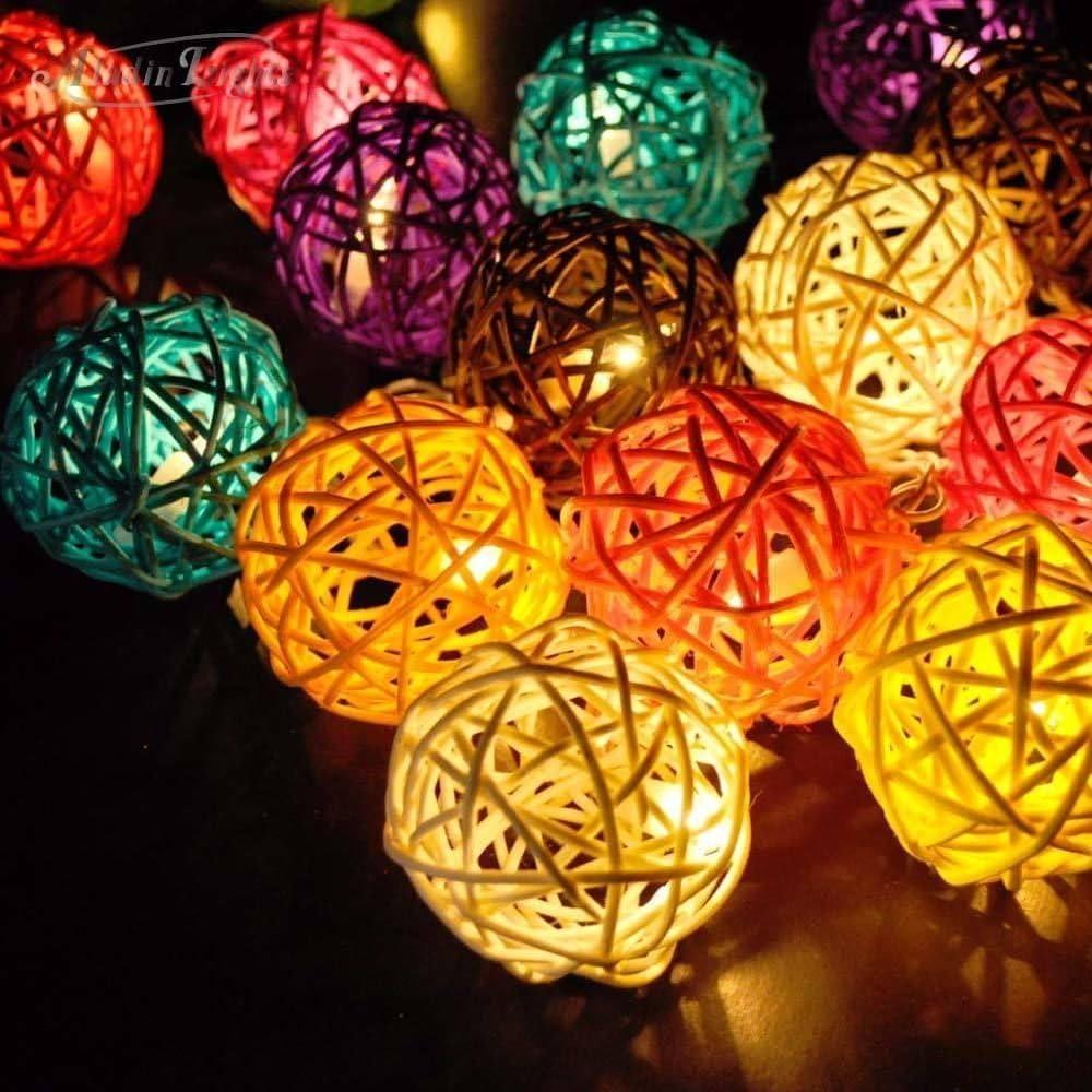 9.8 Feet 20 Rattan Ball Fairy String Lights Plug in, Flexible Romantic Warm Lighting for Home Decor (Colorful)