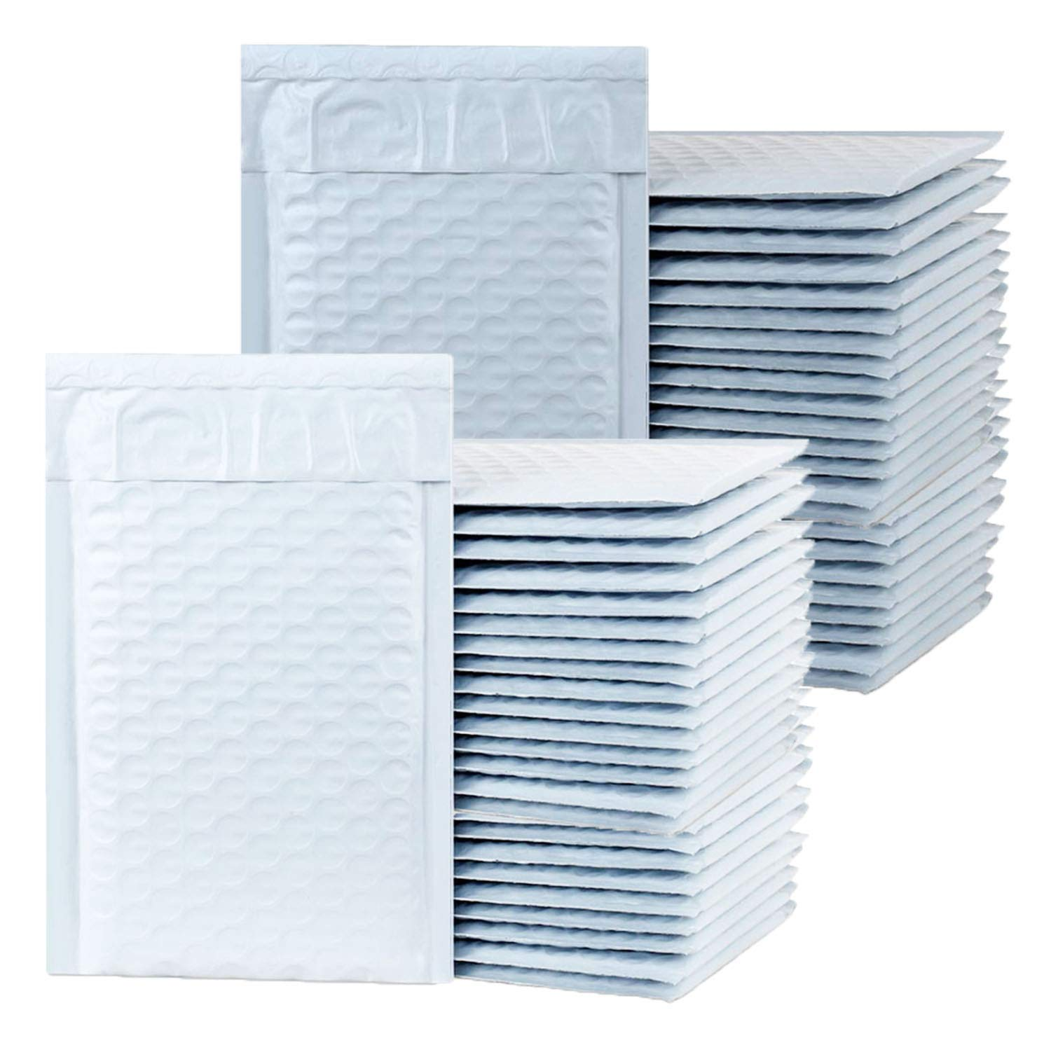"iMBAPrice - 50 (#000) 4"" x 8"" Pure White Poly Bubble MAILERS Padded Shipping ENVELOPES 4 x 8 - Total 50 Envelopes"