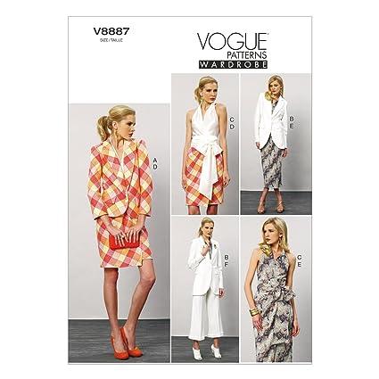 Vogue Patterns V8887 - Patrones de costura para chaquetas y blusas con fajín, faldas y