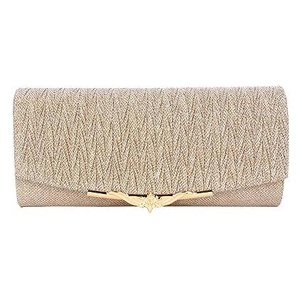 98a7dd43dedb TENDYCOCO Fashionable Evening Shoulder Bag for Woman, Lady Clutch Prom  Party Wedding Envelope Handbag(Champagne)