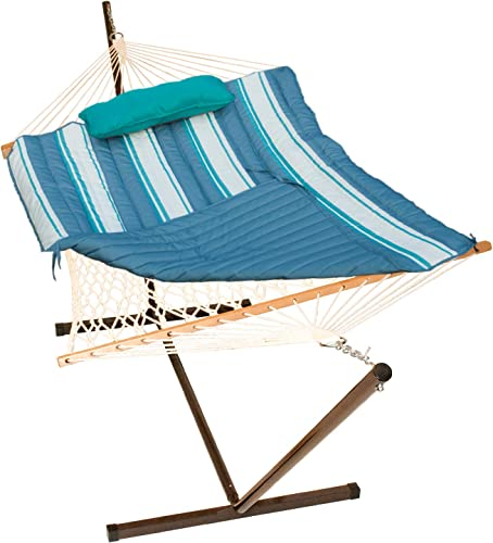 Algoma Net 8919STRIPE Combo-Gray and Teal 5-Piece Hammock Combination Set