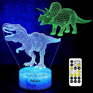 Dinosaur Toys, T Rex 3D Night Light(2 Patterns) 7 Colors Changing Night Lights for Kids with Timer & Remote Control & Smart Touch, Birthday Gifts for Boys Kids Age 2 3 4 5 6+ Year Old Boy Gifts