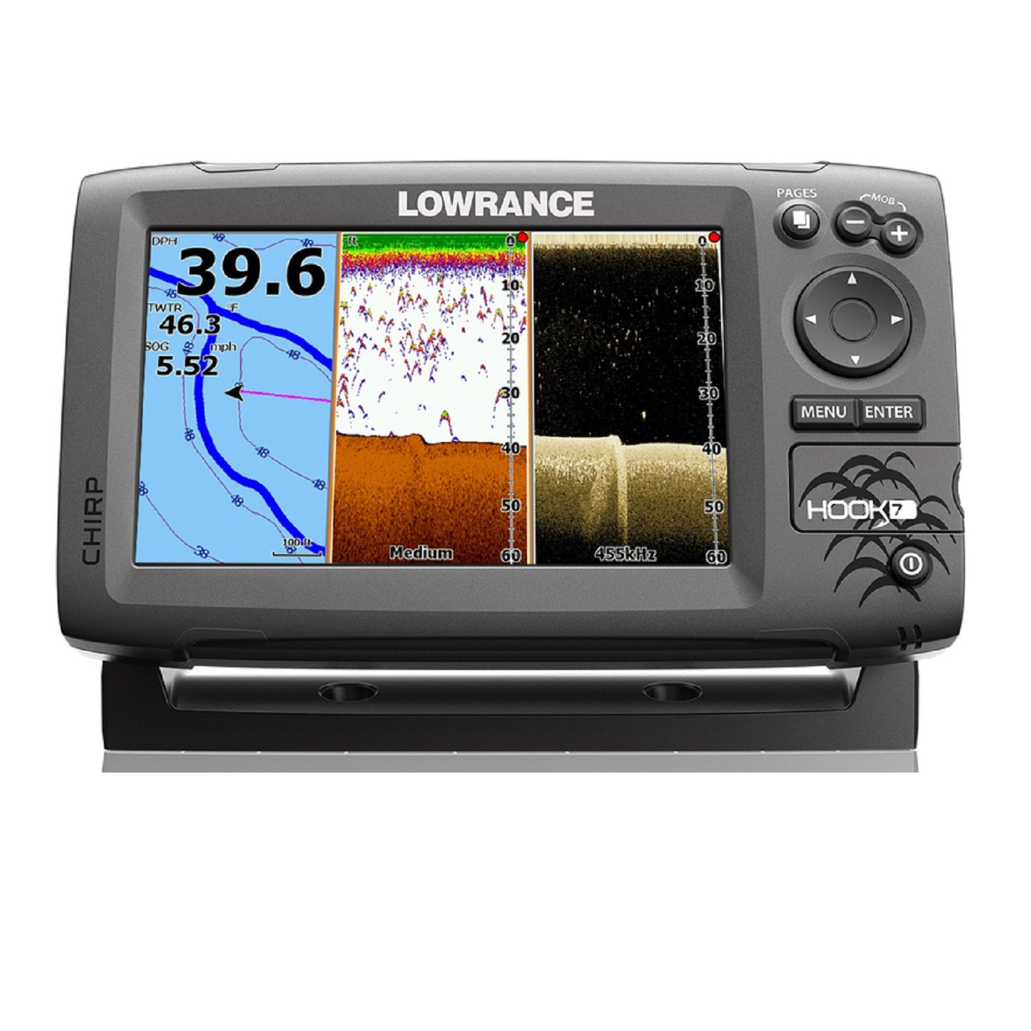 Lowrance 000-12664-002 Navico Hook 7 with Card & Cover Mid/High Down Scan, by Lowrance