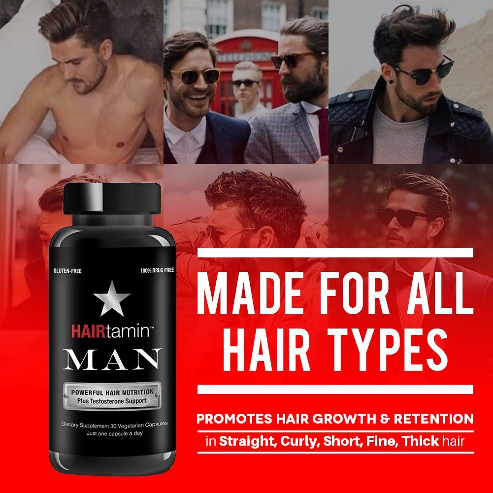 HAIRtamin Man Hair Growth Vitamins - Best Mens Biotin Fast Hair Growth Formula Vitamin Supplement for Thicker Fuller Healthier Hair and Beard Natural Daily Multi Vitamins (6 MONTH - 180 CAPSULES) by HAIRtamin (Image #3)