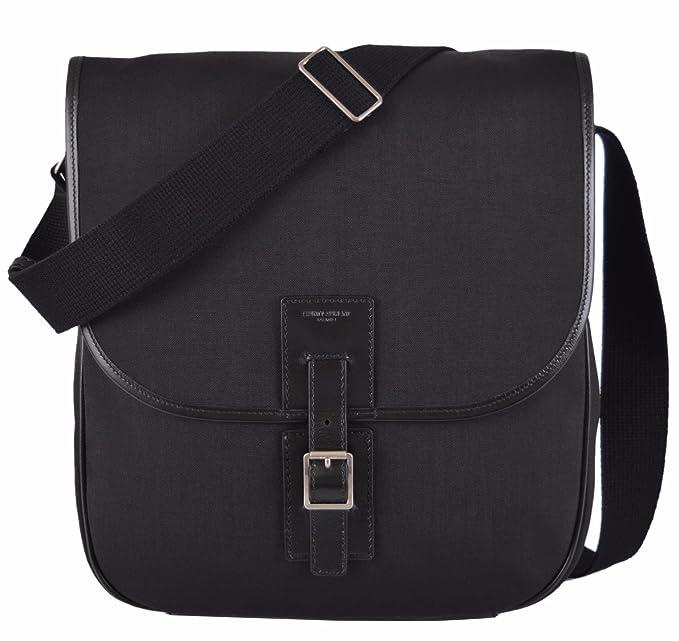 f0cda4c7886 Image Unavailable. Image not available for. Colour: Yves Saint Laurent YSL Men's  Black Canvas Hunting Line Messenger Bag