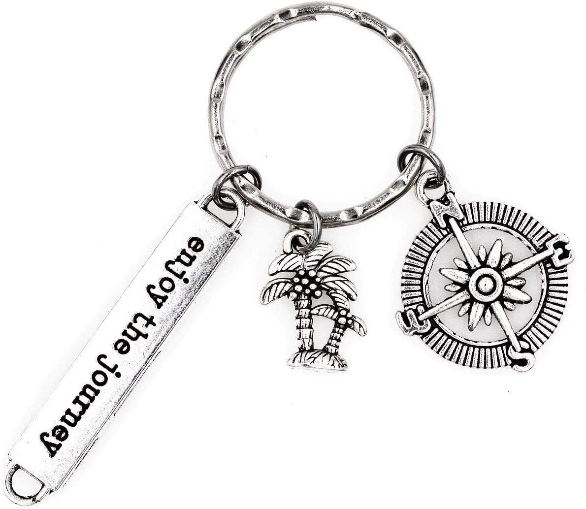 Its All About...You Enjoy The Journey Compass Palm Tree Keychain 1G