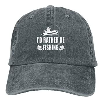 27c1b76fb92 WCMBY Personality Caps Hats I d Rather Be Fishing Denim Hat Adjustable Mens  Great Baseball