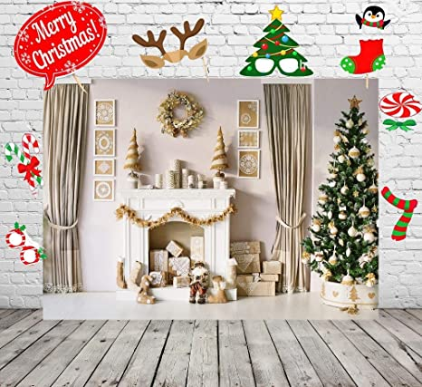 7x5ft christmas backdrop and studio props diy kitchristmas backdrops for photography christmas tree fireplace