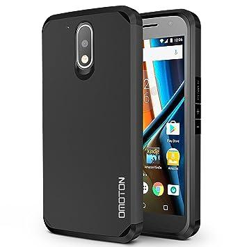 OMOTON Funda Motolora Moto G4/Moto G4 Plus [Color de Negro][ Doble
