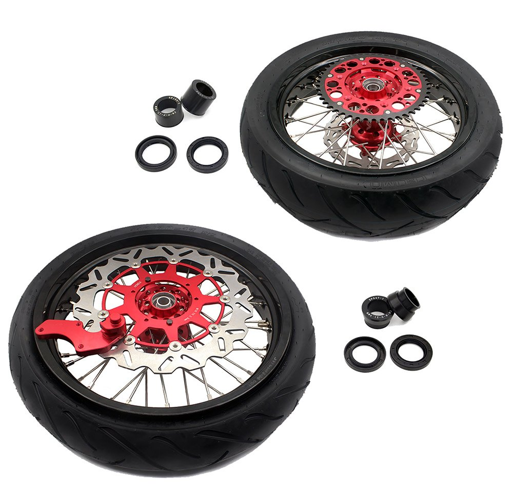 KKE HONDA DIRT BIKE TIRE CRF250R CRF450R CR125R/250R 3.5/5.0 SUPERMOTO WHEEL SET WITH TIRE& DISC 04-13 02-12 00-13 Go Wheel Racing