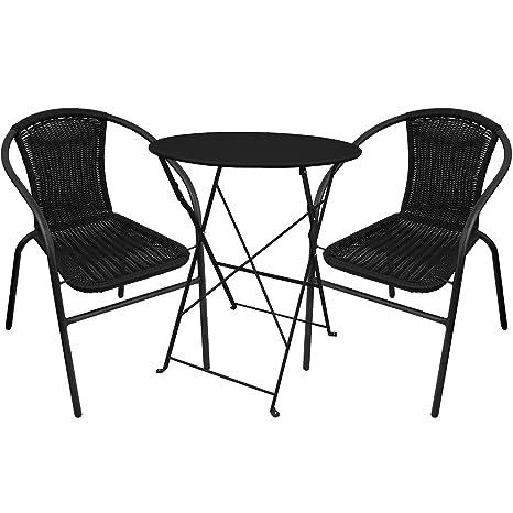 3 piezas. Bistro Escobillero plegable Ø60 cm + 2 sillas ...