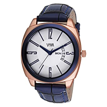 8816559b75992 Buy Watch Me White Dial Blue Leather Strap Round Square Analog Watch for  Boys and Men DDWM-095Raeon Online at Low Prices in India - Amazon.in