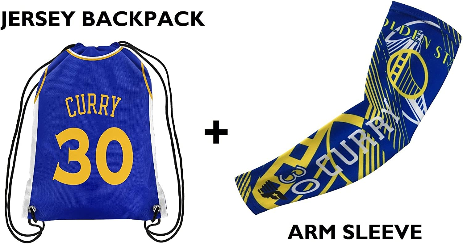 Forever Fanatics Golden State Curry #30 Basketball Fan Gift Set ✓ Curry #30 Jersey Drawstring Backpack & Matching Compression Shooter Arm Sleeve