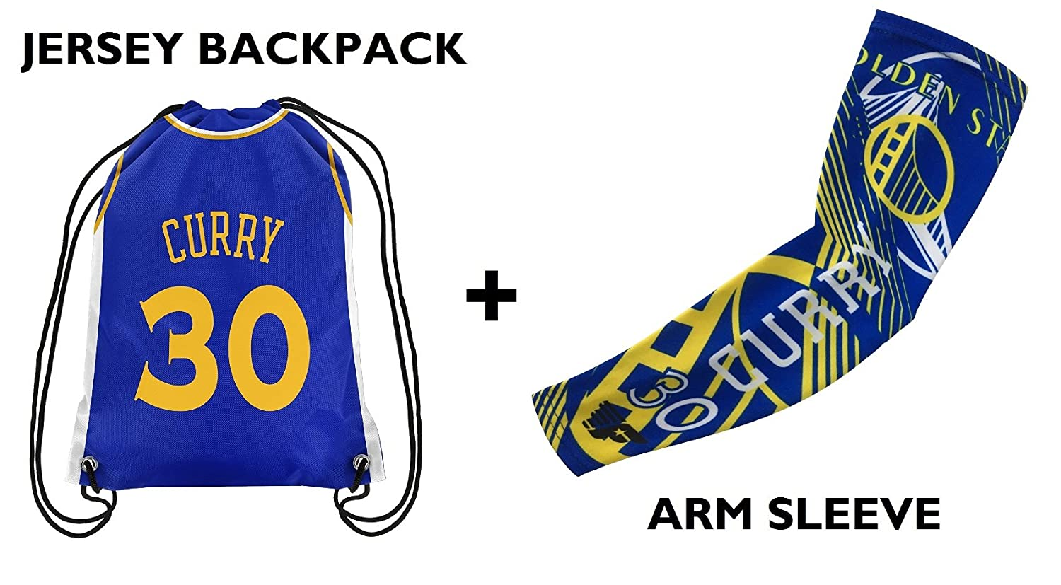 Forever Fanatics Golden State Curry #30 Basketball Fan Gift Set x2713; Curry #30 Jersey Drawstring Backpack /& Matching Compression Shooter Arm Sleeves