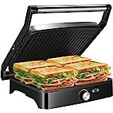 OSTBA Panini Press Grill Indoor Grill Sandwich Maker with Temperature Control, 4 Slice Non-stick Versatile Grill, Opens 180 D