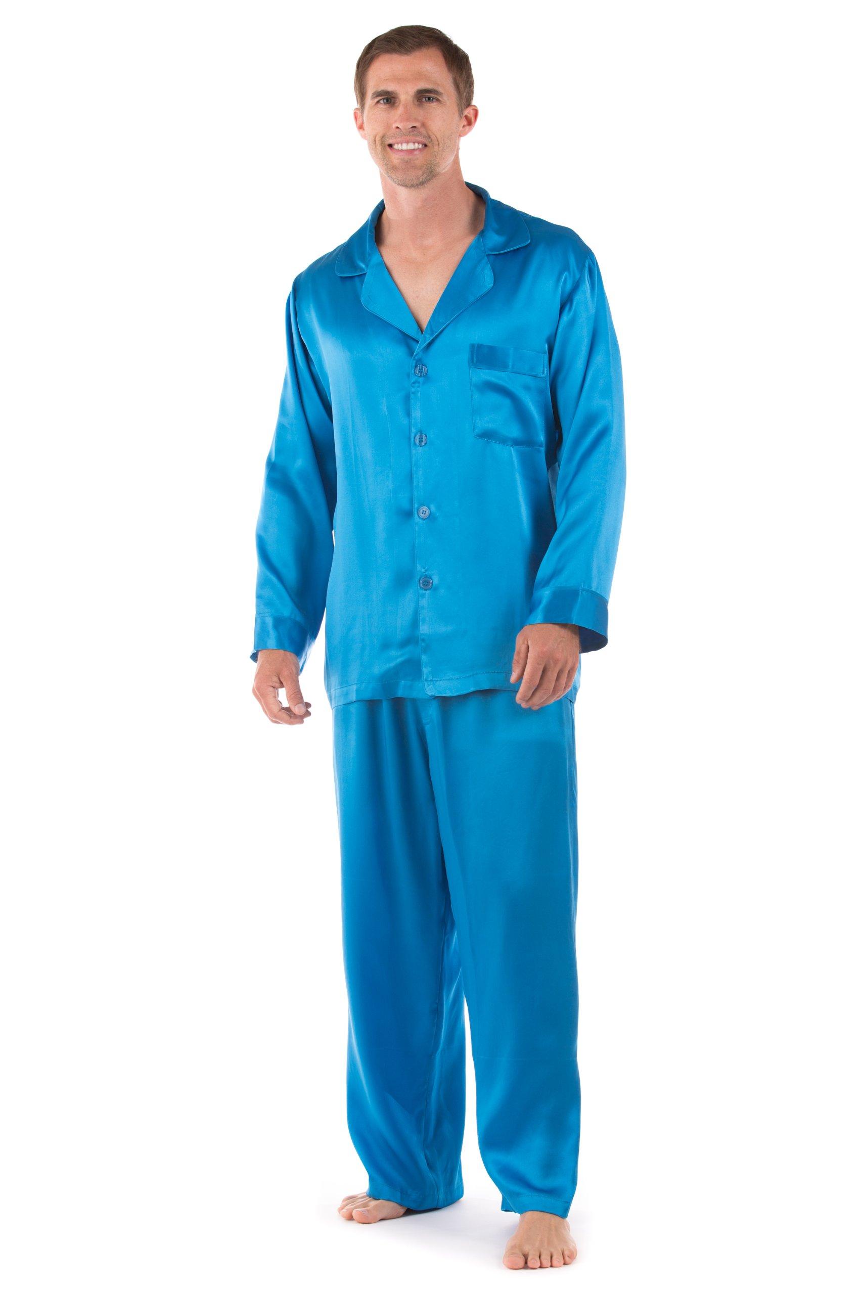 TexereSilk Men's 100% Silk Pajama Set - Luxury Nightwear Pajamas by (Milaroma, Swedish Blue, Large) Cool Gifts for Men MS0001-SWB-L
