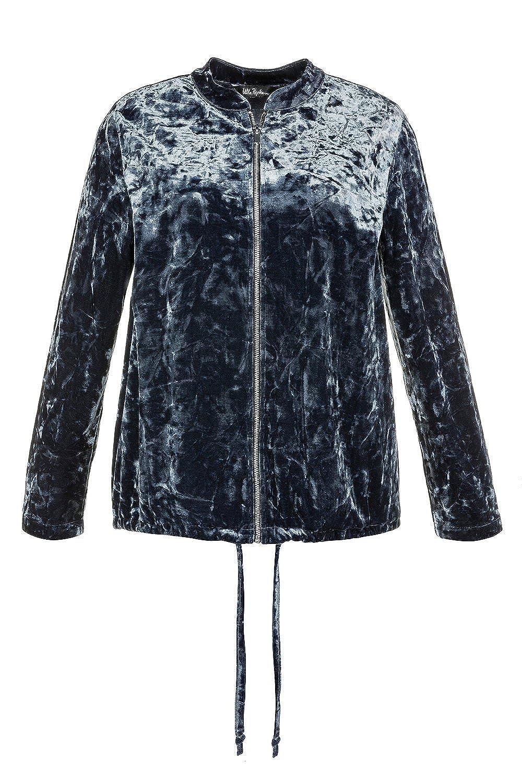 Ulla Popken Womens Plus Size Zip Front Velvet Bomber 713595
