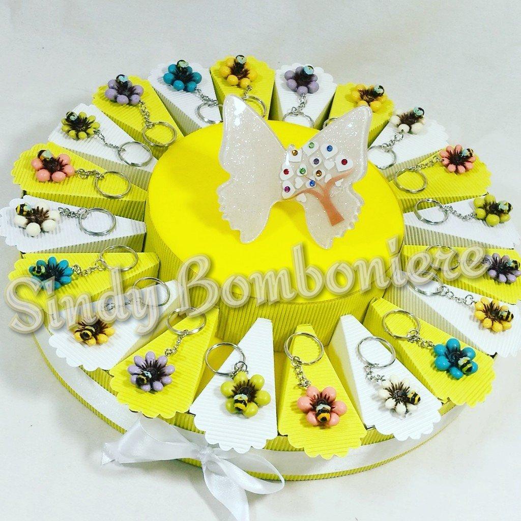 Tarta Bomboniere nacimiento Cumpleaños Bautizo con abeja sobre flor llavero para niña Gai MATTIOLO