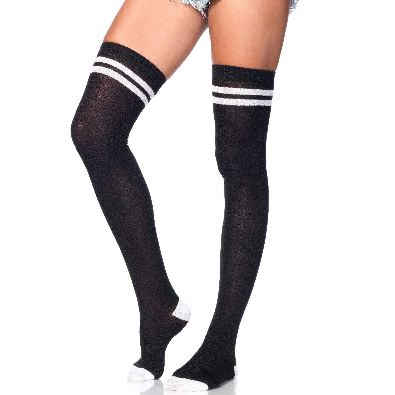 Leg Avenue-Costume da 6919 taglia unica, da 6 a 12, colore: bianco e Nero a coste-Athletic parigine con tessuto a righe, rinforzata, 2 dita e polsini elastici 691922007
