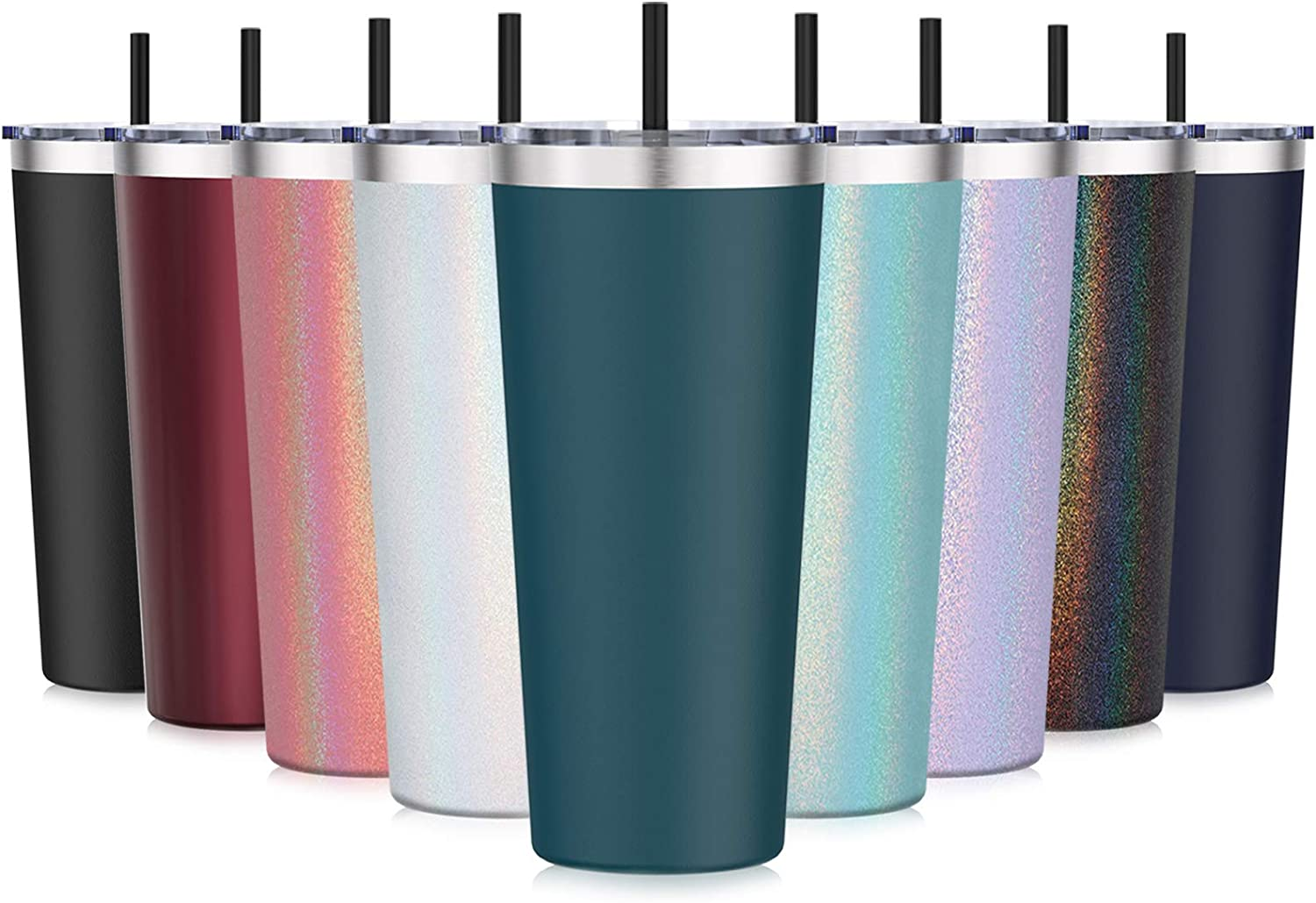 Travel Tumbler with Lid and Straws, Aikico Insulated Stainless Steel Travel Mug Coffee Cup for Ice Drinks & Hot Beverage, Double Wall 22 oz Powder Coated Coffee Tumbler for Home and Office, Dark Green