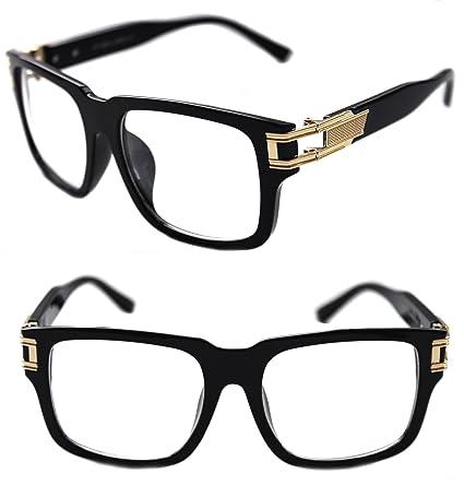 bfaf16786070 Men s Hip Hop GrandMaster Vintage Retro 80 s Swag Clear Lens Eye Glasses  Sunglasses Hip Hop (